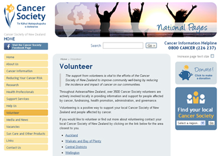 Cancer Society NZ Volunteering